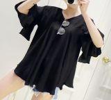 여자의 까만 형식 간결 소매 리넨 t-셔츠 V 목 스피커는 t-셔츠를 소매를 단다