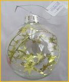 De duidelijke Bal van het Glas van Kerstmis met binnen Ster