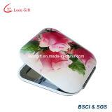 Heißer Verkauf gedruckter Blumen-kompakter Aluminiumspiegel