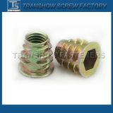 Noix en alliage de zinc galvanisée d'insert de couleur de matériel de meubles