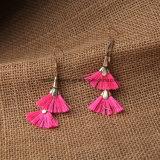 二重ファン低下の長い肩のピンクの変換可能なふさのイヤリングの宝石類