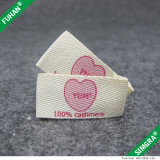 Etiqueta Herringbone da impressão da fita do algodão Offwhite da cor