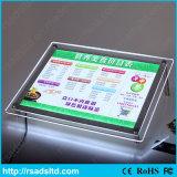 Indicador de diodo emissor de luz acrílico iluminado Lightbox magro de cristal