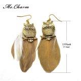 Brincos longos da pena da coruja da Ouro-Cor dos estilos para a jóia da forma das mulheres