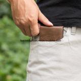 Mini caisse de carte en cuir Bifold ultra mince de guichet d'identification de pochette
