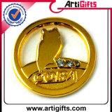 زبونة [3د] تصميم علامة تجاريّة شارة مع عمليّة تصفيح نوع ذهب