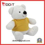 Urso feito-à-medida branco da peluche com a camisa de T para a promoção