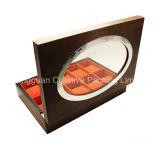 Caixa de empacotamento do relógio de pulso de madeira feito sob encomenda do logotipo com indicador