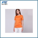 Camisa de T com cor pura da forma redonda da garganta