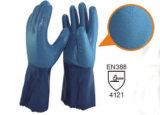 De naadloze Gebreide Handschoenen van het Bewijs van het Katoenen Nitril van de Voering Blauwe Chemische
