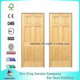 Porte intérieure en bois solide en bois de lame de double de salle de classe de 6 panneaux
