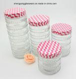 le righe vaso di vetro della gomma 4PCS di memoria hanno impostato con il coperchio del metallo