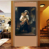 Vente en gros de peintures à l'huile de décoration de haute qualité, peinture de décoration intérieure, peinture d'art (jeune mère regardant son enfant)