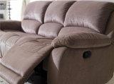 Кожаный кровать софы софы 3seater Recliner ткани