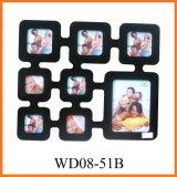 Раскрывая черная деревянная рамка фотоего коллажа стены 8 вися (WD08-51B)