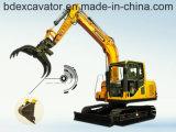 Excavadores de la correa eslabonada de Baoding 8.5ton con 0.5m3 el compartimiento, gancho agarrador, taladro rotatorio, rompiendo el martillo