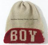 A listra bordou o chapéu feito malha chapéu do Beanie do tampão