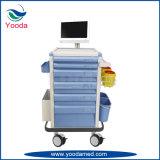 Chariot mobile de soins d'hôpital avec des tiroirs