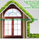 Finestra di alluminio di nuovo disegno con il rivestimento solido della quercia/teck/legno pino/del larice, finestra rotonda di alluminio di colore di legno