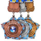 生産者の普及した旧式な習慣3Dはギフトの販売のための星のタイプ刻まれたまれなロゴのスポーツ競争の金属メダルを浮彫りにする