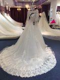 Uma linha/um vestido casamento da princesa Longo Luva Laço Tulle