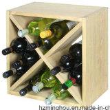 Estante de visualización de madera del vino de la mirada práctica moderna del cubo