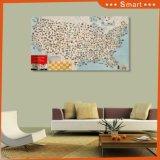 UV конструкции карты напечатанное на панели стены для домашнего украшения