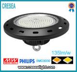 UFO Lámpara LED de Alta Bahía con Caja Negro 130lm / W CRI80 y 3030SMD Nichia o Chip Philips