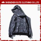 Preto 100% liso de Hoodie do algodão do pulôver do espaço em branco do bordado (ELTHSJ-1175)