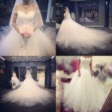 Morden 2017 просто светлый Tulle с платья венчания собора плеча