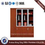 Meubles de bureau modernes de mélamine de portes de bibliothèque en verre en aluminium de bureau (HX-4FL012)
