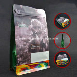 Sachet en plastique droit comique de nourriture de papier d'emballage de sac de café de blocage de fermeture éclair de papier d'aluminium de poche de fond plat