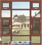 La última ventana de aluminio de madera del marco del final de grano con las redes de mosquito