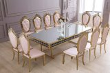 6人は上ミラーの金ステンレス鋼のダイニングテーブルに大理石模様をつける