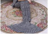 O Throw feito malha adulto feito malha da base do sofá do cobertor da cauda da sereia cobre o saco de sono da sereia