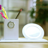 Qi 빠른 비용을 부과 무선 충전기를 가진 타이머 자명종을%s 가진 1개의 사무실 가정 조직자 둥근 장식용 펜 연필 남비 메이크업 솔 콘테이너에 대하여 3