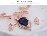 Способа 2 ожерелья серьги листьев кристалла Rhinestone ювелирные изделия золота PCS установленные Rose привесного