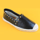 جوتة وحيدة برشام [بو] جلد الزلّة على [إسبدريلّ] أحذية أسود