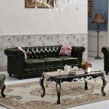 Sofá de couro europeu de Chesterfield e sofá retro americano