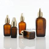 bouteille carrée ambre de l'huile essentielle 50ml avec le compte-gouttes de paniers