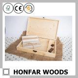 Caixa de armazenamento de madeira personalizada presente do saco de chá do logotipo com compartimentos