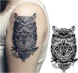 Etiqueta engomada temporal impermeable del tatuaje del modelo de moda del buho