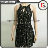 China-Fertigung-europäisches Art-Schwarz-Spitze-Kleid-Muster-elegante Frauen-Spitze-Kleid