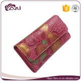 La mujer colorida de múltiples funciones de la carpeta de la PU, flor grabó diseño largo del monedero