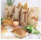 Bolso impermeable a la grasa impreso de los alimentos de preparación rápida de Kraft de la parte inferior del cuadrado de las palomitas de la panadería del pan de fritadas