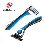 System Razor with Cartridge Metal Handle Shaving Razor Triple Blade