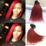 Pulgada brasileña Ot1b-Red del color 10 de Ombre del pelo de la Virgen derecho