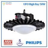 Philips LED 칩과 Meanwell LED 운전사를 가진 높은 만 빛 5 년 보장 50W UFO LED