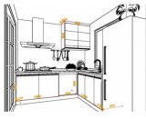 Weißes Melamin-moderner Ofen-Küche-Schrank
