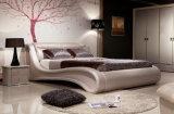 Neues elegantes Schlafzimmer-Möbel-Rosa-echtes Leder-Bett (HC556)